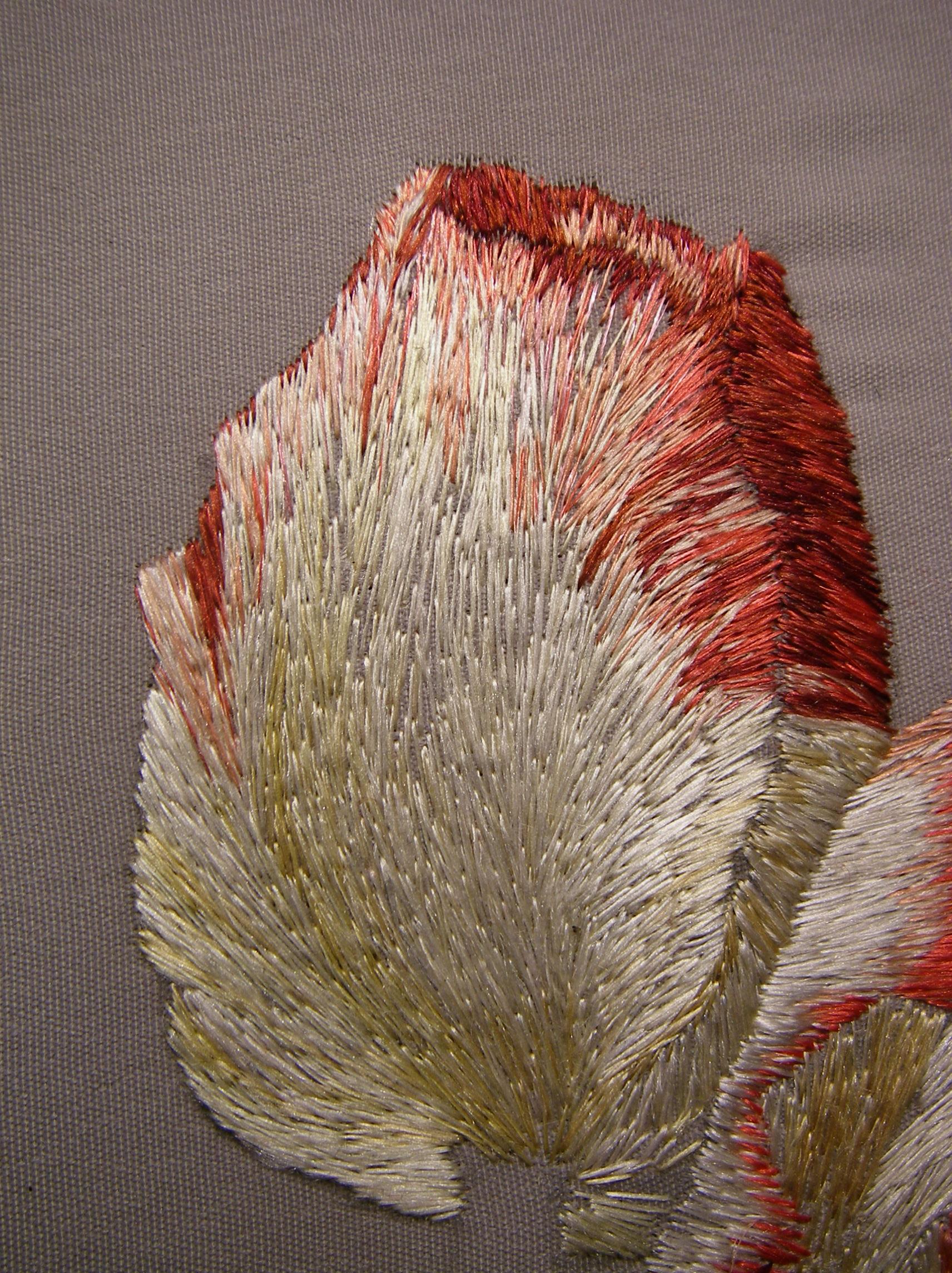 схема вышивки парных журавлей на сосновой ветке